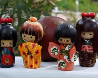 4 Kawaii Wooden Geishas