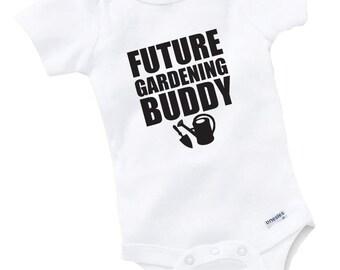 Future Gardening Buddy Onesie Bodysuit Baby Shower Gift Funny Boy Girl Family Garden Gardener Plant Flower Farming