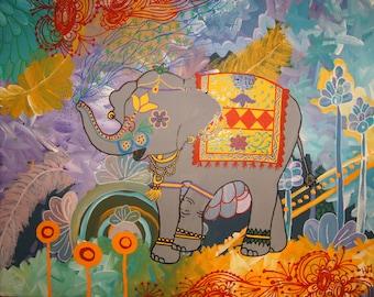 Elysia The Elephant Original Acrylic Painting 20x16x.5