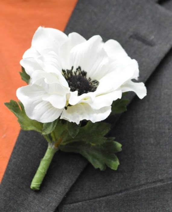 Black Flower Corsage Brooch Masoomah: Items Similar To Wedding Flowers, White Silk Anemone With