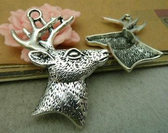 3pcs 44x59mm The Deer Silver White Color Charm For Jewelry Pendant C4621