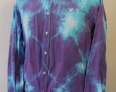 Tiedye upcycled mens long sleeve dress shirt, 100% cotton shirt