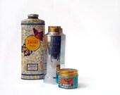 Tiger Balm jar, Jaciel Talc Jar, Yardley Invisible talc, vintage bottles lot of 3