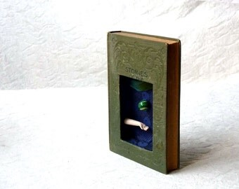 Book Assemblage, shadow box wall hanging art, Stories of the Spinning World, Susan Sanford art