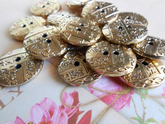 Buttons Gold Vintage Style 12pcs.