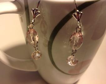 Pink bead and pink Swarovski Crystal earrings