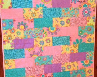 Sale Hand made baby quilt using Moda fabric by Me And My Sister fabric