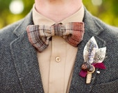 Vintage Music and Lavender Boutonniere with Feathers