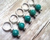 Turquoise Amazonite Stitch Markers, Green Blue Gemstone, Snag Free Set of 5