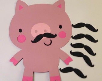 Birthday Game, Pin the Mustache on the Pig, Farm Party, Farm Birthday Decoration