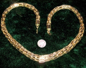 Vintage Golden Tone Anodized Aluminum Articulated Necklace Choker 1970's Jewelry 2221