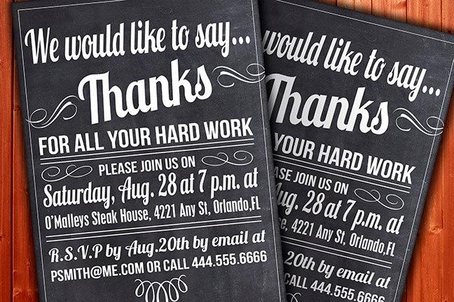 Custom Thank You Invitation Business Function or Party – Thank You Party Invitation