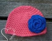 Coral & Bright Blue Big Flower Hat - Big Flower Beanie Newborn Photo Prop - Baby Shower - Ready to Ship