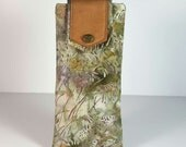 SALE ITEM/ Batik and Leather Mauve/Green Eyeglass Pouch / Fabric Eyeglass Case
