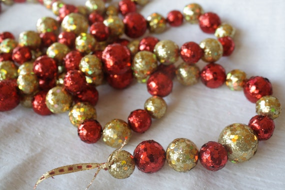Holiday garland christmas glitter red and gold