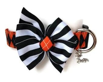 Halloween Argyle Dog  Collar size Medium