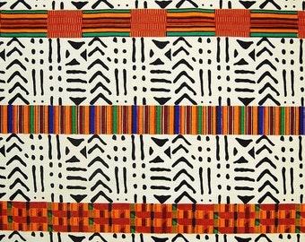 """Tribal Headwrap: Ankara African wax print scarf, shawl, Mud cloth Women's scarf, men's scarf """"Akosua"""""""