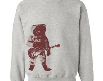 Astronaut with Guitar in Outer Space Sweater Flex Fleece Pullover Classic Sweatshirt - S M L Xl and Xxl (Color Options)