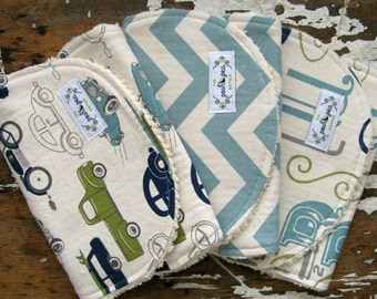 Baby Boy Burp Cloths - Set of 3 - Navy & Olive Green Cars, Vintage Blue Chevron and Alphabet