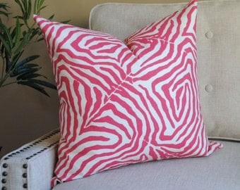 Designer Print-Pillow Cover-20x20-Animal Print-Pink-White-SPRING