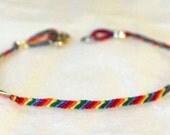 Gay Pride Rainbow LGBT Friendship Bracelet with Clasp Super slim thin