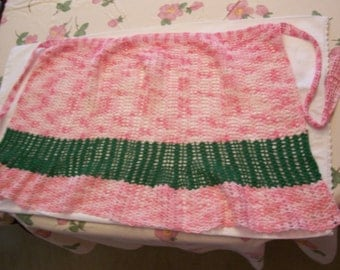 Pink Crocheted Apron Hand Made Pink and Green  Half Apron
