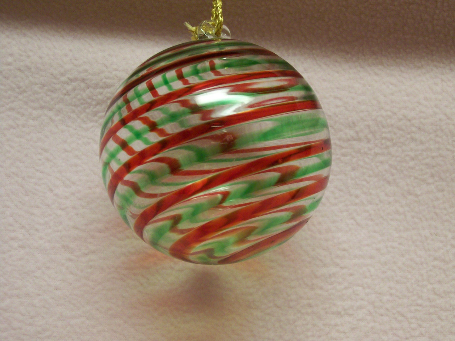 Murano italy ornament glass ball red green stripes - Murano glass ornaments italy ...