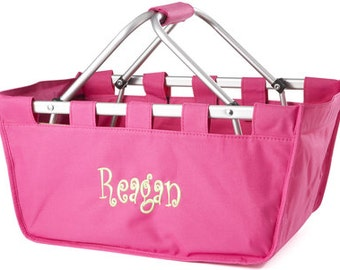Monogrammed Hot Pink Market Tote, Monogrammed Hot Pink Market Basket, Hot Pink Tailgate Tote, Personalized Hot Pink Shopping Tote