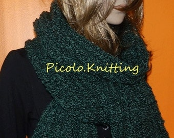 Hand Knitted Scarf - Chunky Super Soft Boucle Textured Scarf in Green