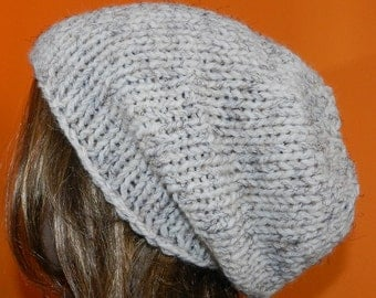 SALE !! Handmade Knitted Teen Slouchy Beanie, Winter Chunky Hippie Cap, Hipster Slouchy Cap, Boho Hat in Oatmeal,  Gift under 30