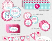 American Girl Inspired Party Pack - PRINTABLE Favor Tags, Bottle Wraps, Party Circles, Cupcake Toppers, Banner, Food Labels