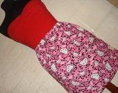 Pink Leopard Print Hello Kitty Faces Mini Skirt - High Waisted Ladies Mini Skirt -  Handmade & Ready to Ship