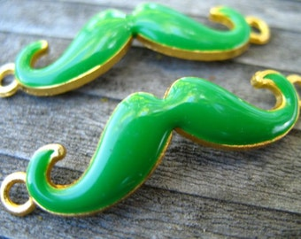 2 Green Mustache Connector Charms Green Enamel over Gold 38mm