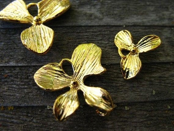 Orchid Charms, Gold Plated Over Solid Copper, 1 Sets of 3pcs