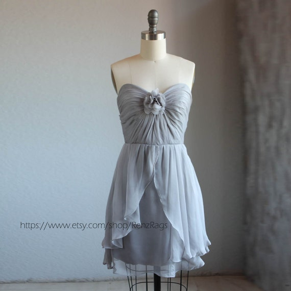 Gray wedding dress chiffon party dress grey by renzrags on for Wedding dress on etsy