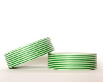 Grass Green Stripes Washi Tape