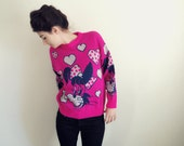 reserved for Emelie - 80s Rockabilly cat sweater. hot pink with hearts