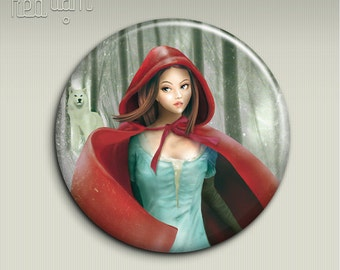 Pocket mirror - CAPPUCCETTO ROSSO (Red Riding Hood) - 58mm