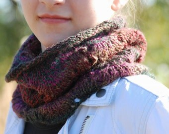 Knit Cowl, Multicolor Knit Cowl, Cowl Scarf, Cowl Neck, Neckwarmer, Knitted Neckwarmer, Circle Scarf