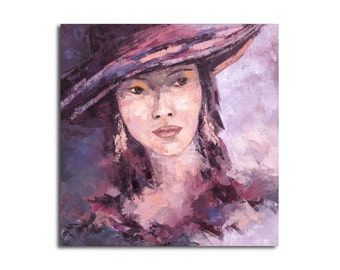 "Oil Portrait painting - Original contemporary modern expressionist oil portrait painting - purple, pink, gray, orange - 15,7"" x 15,7"""