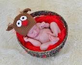 Reindeer Hat Newborn Photo Prop Christmas Holiday Baby Boy Girl Crochet Beanie Sizes 0-3 Months 3-6 Months 6-12 Months