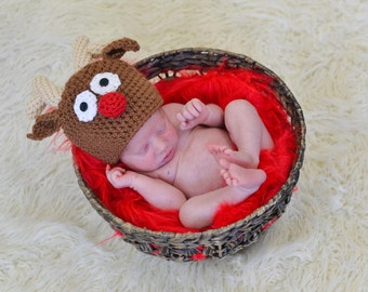 Reindeer Hat Newborn Photo Prop Christmas Holiday Baby Boy Girl Crochet Beanie Sizes 0-3 Months 3-6 Months 6-12 Months