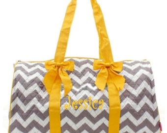 Personalized Quilted Large Chevron Duffel Bag Gym Dance or Overnight Gray with Yellow Trim - Monogram FREE- Zig Zap Pattern