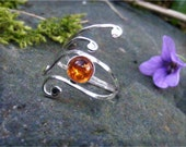 Elven Style Adjustable Sterling Silver and Amber Ring