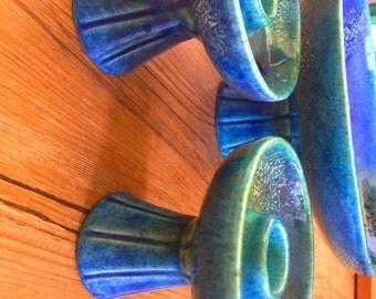 Royal Haeger Estrucan Blue Fat Lava Studio Art Pottery Pedestal Platter and Candlestick Set