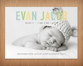 custom baby boy or girl photo birth announcement - pastel chic II