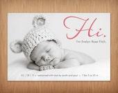 baby girl or boy photo birth announcement - Hi