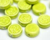 8 perles de céramique porcelaine glacé vert lime 16.5mm x 7mm