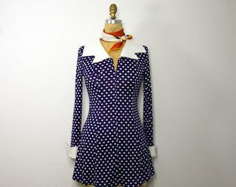 Vintage 1970 Navy Polka Dot  Dress/  Vtg Navy Dot Mini Dress