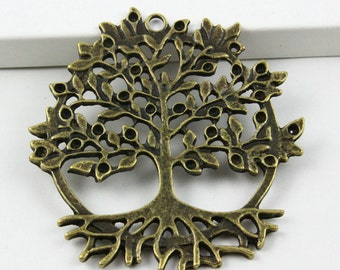 9Pcs Antique Brass Tree Charm Tree Pendant 50x47mm (PND406)